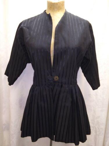 Vintage 1930's 40's Black Rayon Dress Over Jacket
