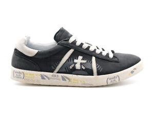 b41aa58b0d Dettagli su Scarpe Premiata da uomo Andy pelle nera vintage con logo panna,  sneakers 3095