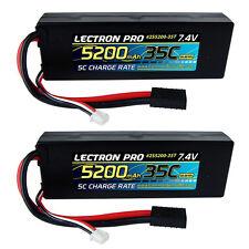 Lectron Pro 7.4V 2S 5200mAh 35C Lipo Battery Traxxas Stampede Rustler 2 Pack