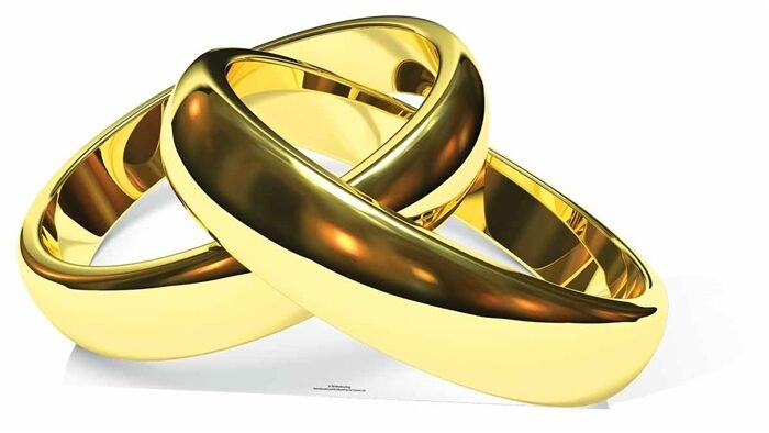 Gold Wedding Rings Cardboard Cutout   Standee   Stand Up honeymoon anniversary