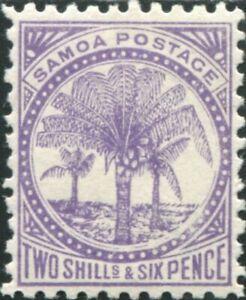 Samoa-1895-SG64a-2-6d-reddish-lilac-Palm-Tree-MLH