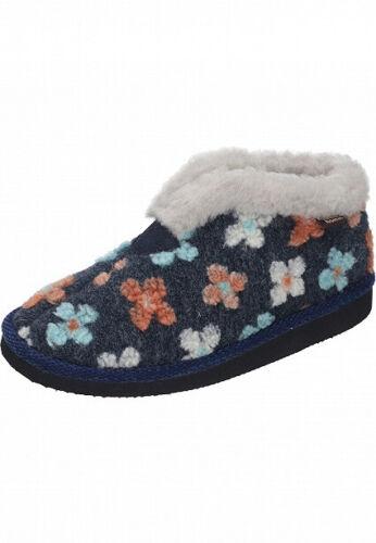 Manitu Home Damenhausschuhe Warmfutter Blumen Blau Gr 38