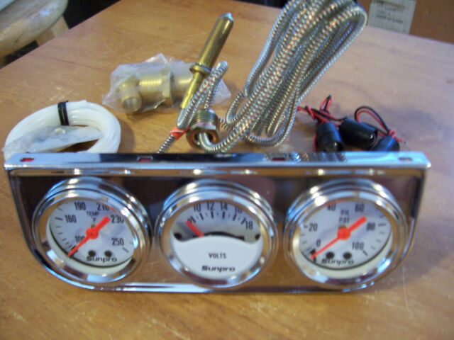 VINTAGE NOS 50s STYLE LIGHTED TRIPLE GAUGE DASH SET OIL TEMP AMP AUTO ACCESSORY