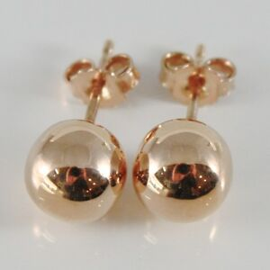 18k Rose Gold Earrings With 8 Mm