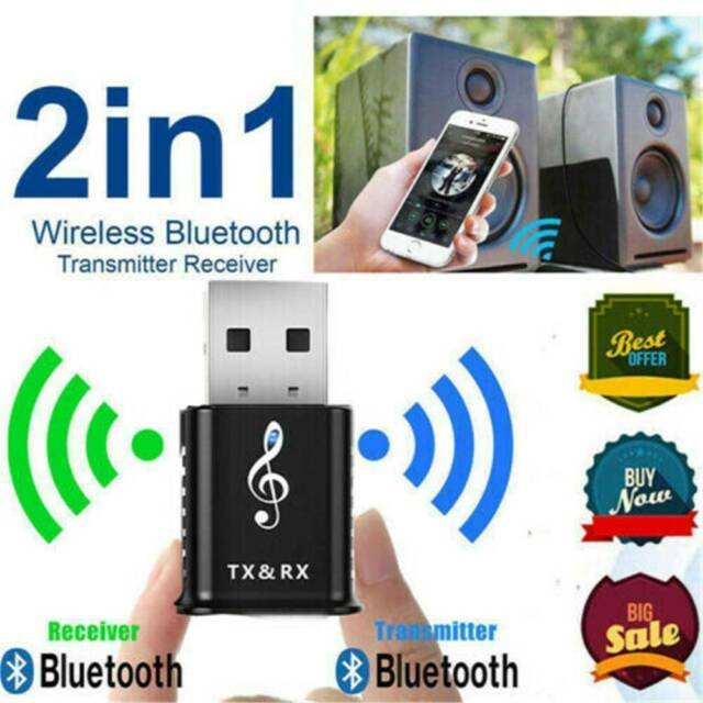 2 in 1 Bluetooth Wireless Transmitter Receiver 4.2 Adapter Audio Car Music TV BI