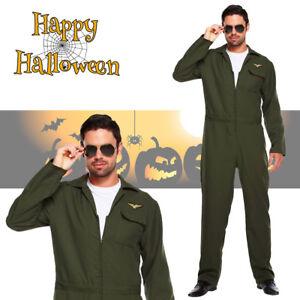 bdc4a9222d5 Adult Top Aviator Fighter Pilot Suit Fancy Dress Halloween Costume ...