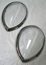 1937 to 1939 Ford Standard Car Headlight Lens Lenses + Stainless Trim Ring Combo