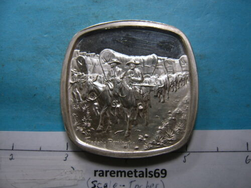 4.1 OZ SANTA FE TRAIL OLD WEST SERIES SILVER REMINGTON LINCOLN MINT VERY RARE