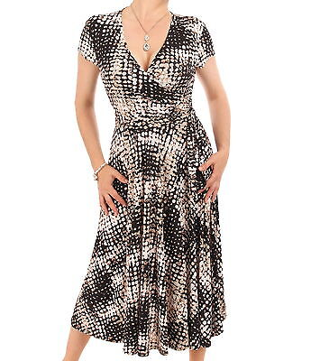 New Printed Mock Wrap Dress - Knee Length