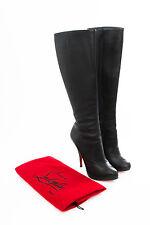 CHRISTIAN LOUBOUTIN Ginerva 120mm Black Leather Platform Stiletto Knee Boot 8/38