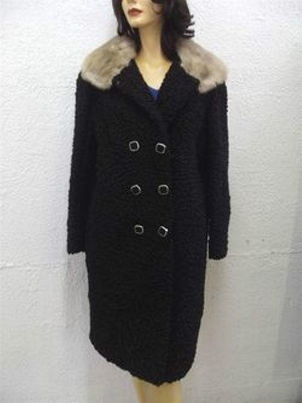 Menta Negro Persa  Cordero Astracán & Abrigo Chaqueta de piel de visón de Mujer Mujer Talla 4-6 Pet  buen precio