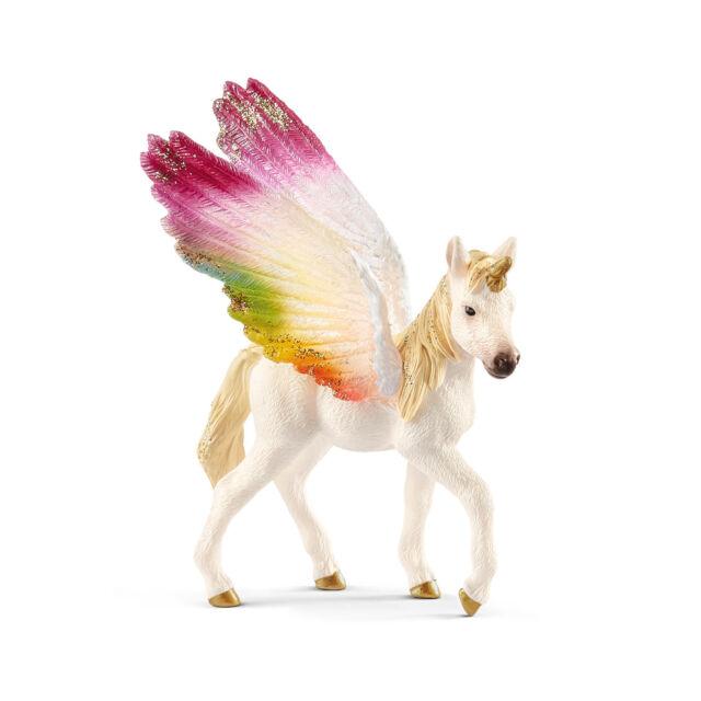 70577 Schleich Winged Rainbow Unicorn, Foal (Fantasy Bayala) Plastic Figure