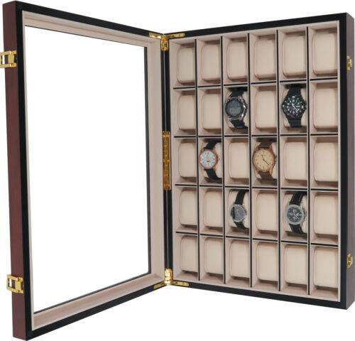 Uhrenbox Wand 30 Uhren Holz mit Echtglas Uhrenvitrine Uhrenschatulle Kirsche