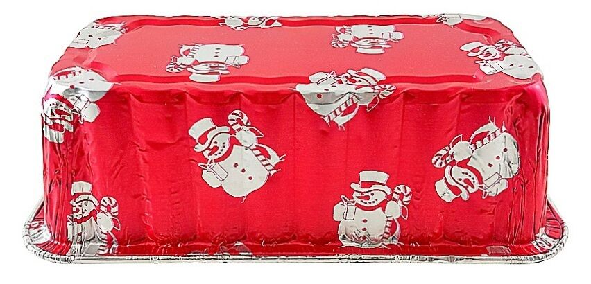 Handi-Foil 2 lb. Red Snowman Holiday Christmas Loaf Bread Pan w/Clear Dome Lids 45