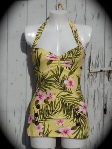 1950s-pin-up-girl-jaune-hibiscus-natation-costume-10-12-14-16-18-retro-maillot-de-bain