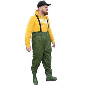 WATHOSE-Stiefel-40-41-Medium-Anglerhose-Teichhose-Hose-Stiefel-PVC-M-gruen