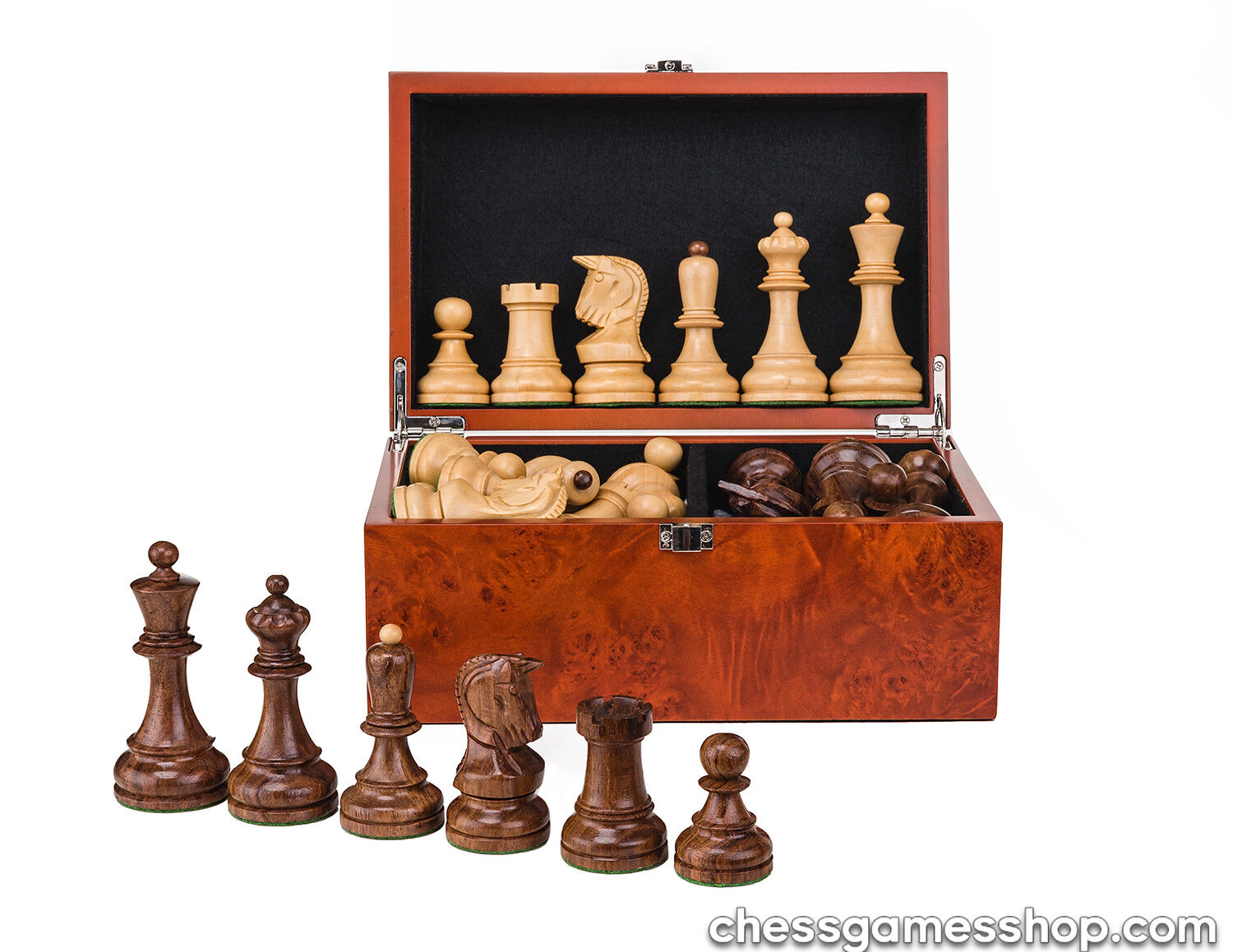 Dubrovnik ROYAL chess pieces-wooden,weighted,felted,steard-CHESSMEN in  scatola  in vendita scontato del 70%