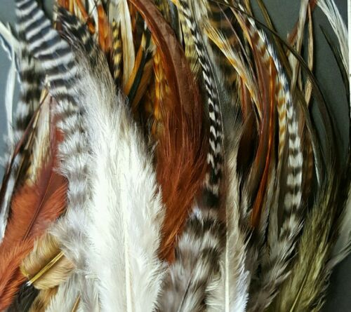 Wholesale natural ginger Grizzly brown saddle Hackle Feathers fluffy 500 md lot Angelsport-Artikel