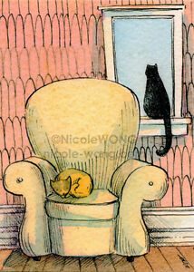 Wong-limited-edition-ACEO-Watercolor-Drawing-Painting-034-Homebodies-034-cat-pets-art