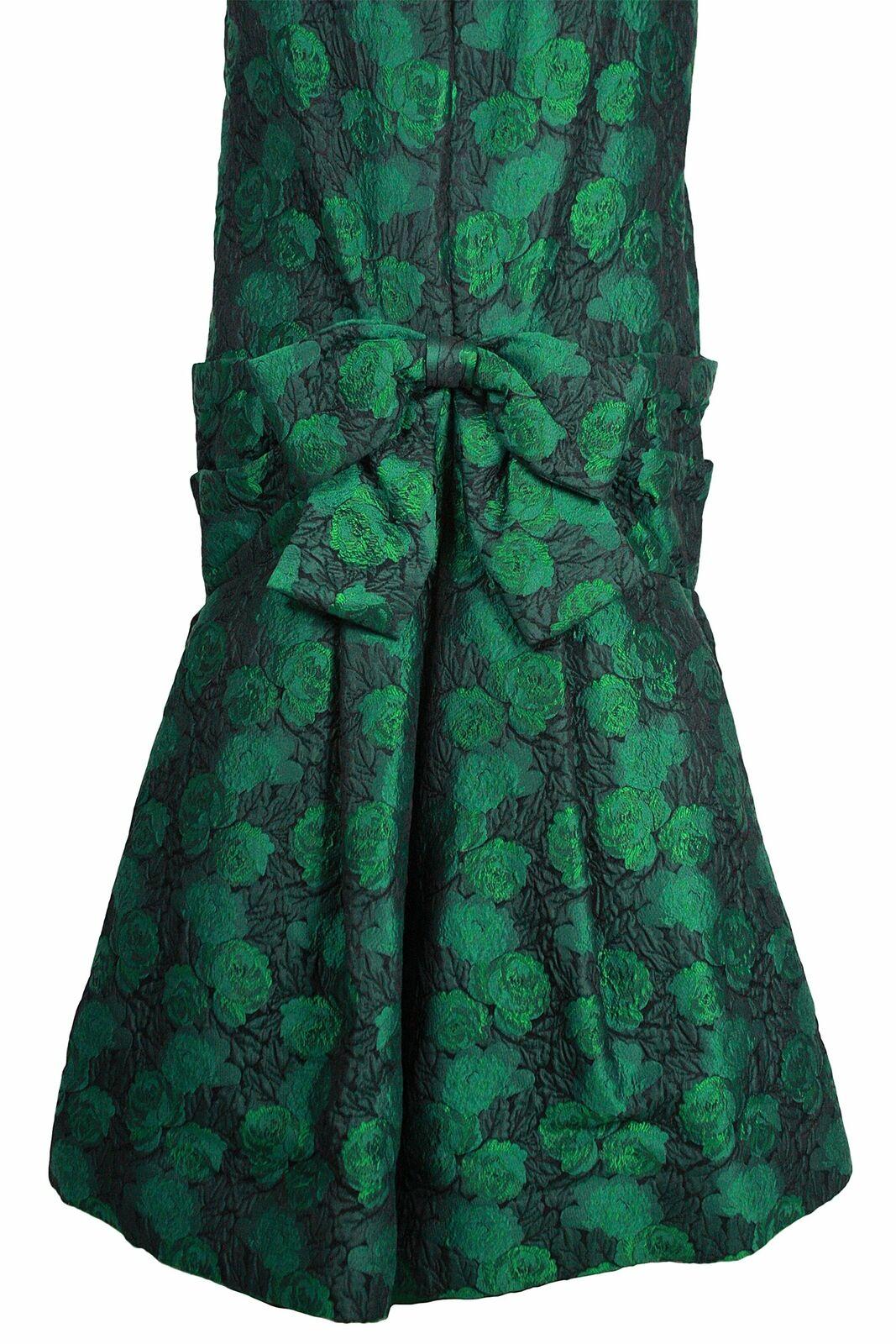 ARNOLD SCAASI 1980s Dark Green Floral Brocade Gow… - image 11