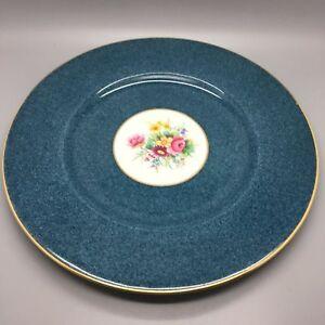 ROYAL WORCESTER CABINET FLORAL DINNER PLATE CIRCA 1933 COBALT BLUE RIM