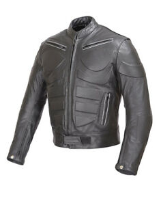 Men Motorcycle Biker Armor Leather Jacket by WICKED STOCK Black  MBJ009