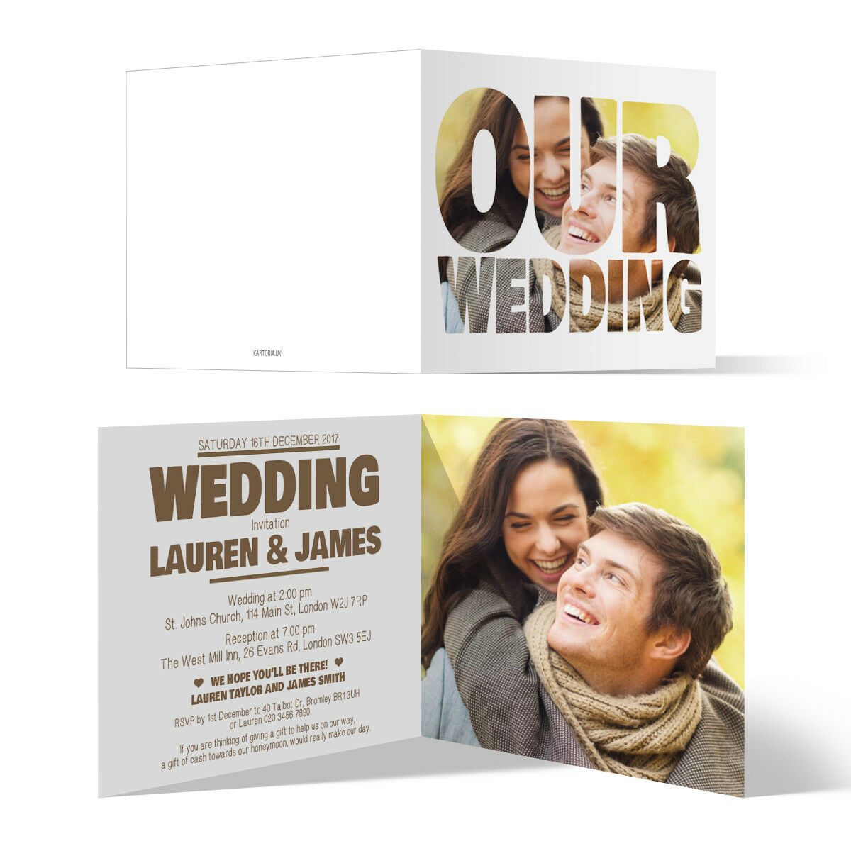 Wedding Invitations Invite Cards - Photo Font Picture Script Folded Personalised