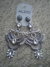 ALDO BURNISHED SILVER TONE  with BLING DANGLING EARRINGS