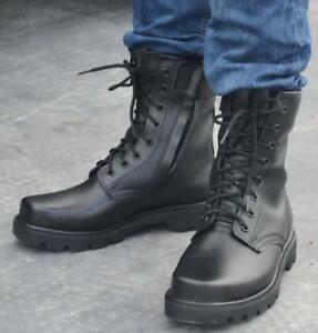 30e25f0ab71 Details about Mens Leather Black Steel Toe Mid Calf Knight Combat Boots  Lace Up Shoes Plus E67