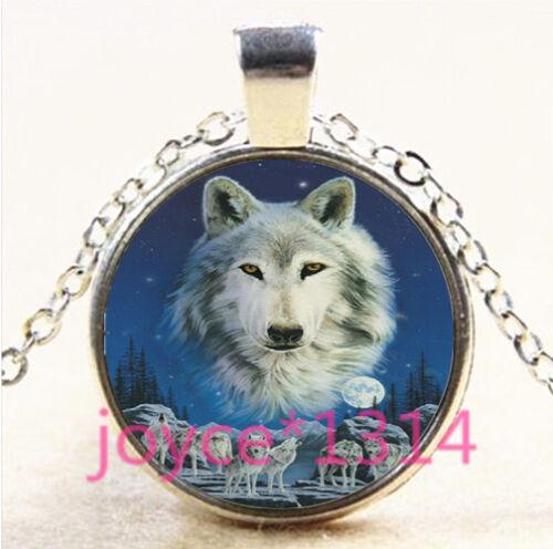 Vintage Wolf Cabochon Tibetan silver Glass Chain Pendant Necklace #3918