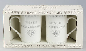 SILVER-WEDDING-ANNIVERSARY-MUGS-SET-Pair-of-China-Mugs-By-Leonardo-NEW