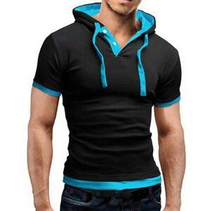 Fit-Hoodies-Muscle-Slim-Tops-Tee-Hooded-Men-039-s-Shirts-Short-T-shirt-Sleeve-Casual