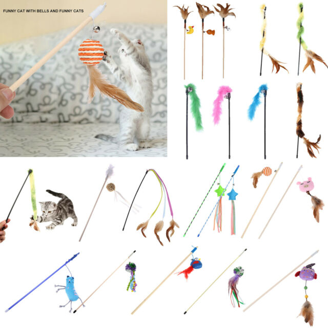 Interactive Funny Sisal Balls Feather Cat Stick Teaser Wand Playing Rod Cats Toy