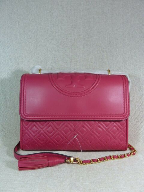 9878f12b5f364 Tory Burch Bright Azalea Pink Leather Fleming Convertible Full Shoulder Bag