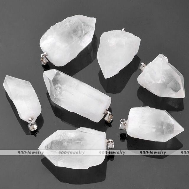 1x Freeform Natural Rock Crystal Quartz Healing Chakra Bead Pendant For Necklace