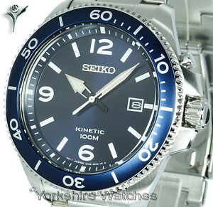 New seiko kinetic blue face divers style with stainless steel bracelet ska745p1 8431242905587 ebay for Movado kinetic