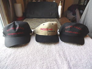 Lot-Of-3-034-NOS-034-Trucking-Company-Hats-2-International-1-Freightliner-034-COLLECTI