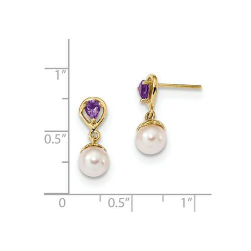 Details about  /14k 14kt Yellow Gold 6-7mm White Round FWC Pearl Amethyst Post Dangle Earrings