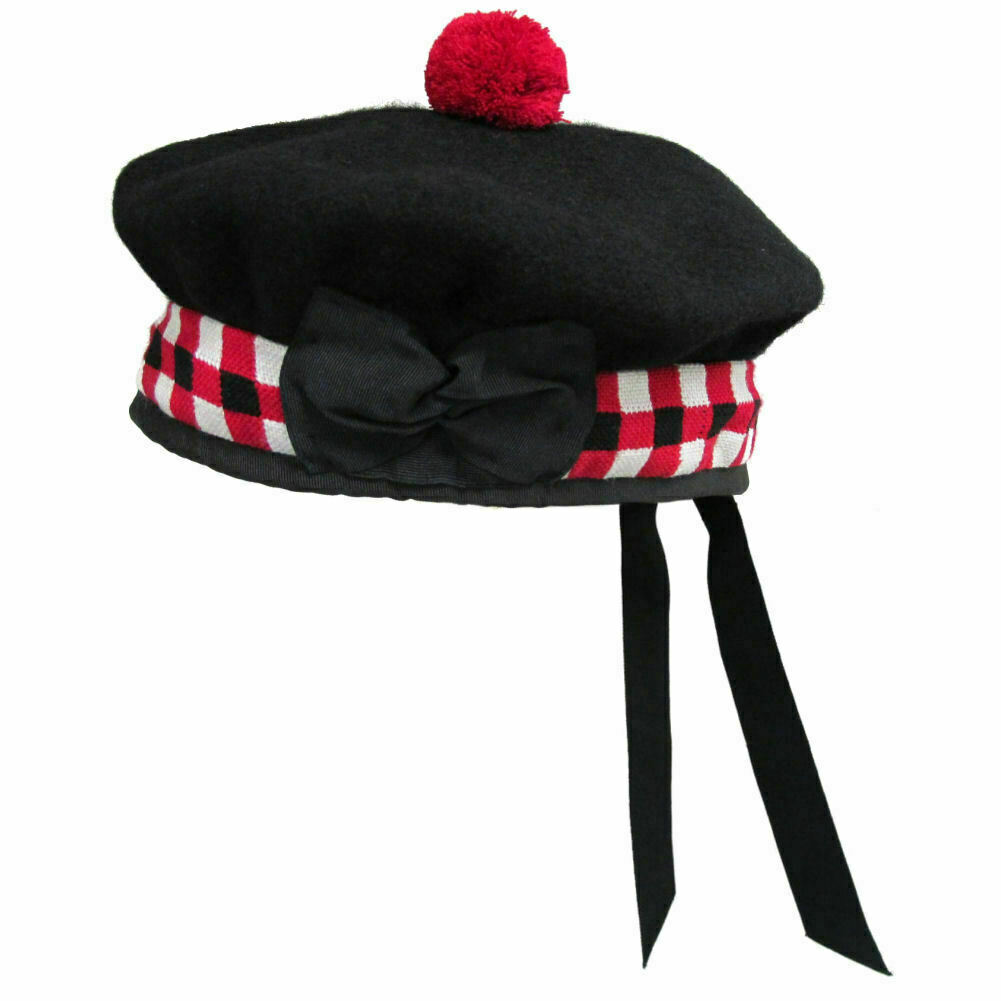 100% Pure Wool Scottish Balmoral Diced Hat Red,White & Black Balmoral 52 to 64