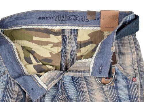 Timezone Hommes Cargo Shorts Maguire Short Pantalon Court Short 3885 bleu à carreaux