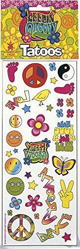 36 Hippie Fake Tattoo Set Temporary Tattoos Peace Hippy Flower Power Halloween