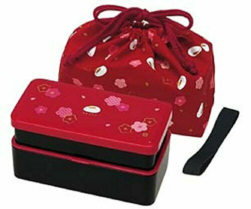 Skater KLS5 Lunch Bento Box Double With Bag Red Rabbit Blossom 640ml F/S Japan