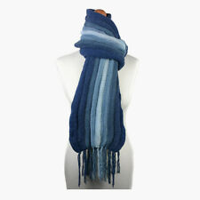 (Blue) Alpaca Wool Hand Knitted Unisex Scarf. Alpaca Scarf by INKITA