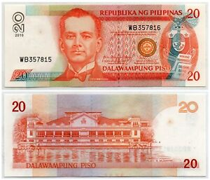 2010 PHILIPPINES NDS 20 Piso Pick #182k Mixed Serial 357815 357816 ERROR Rare