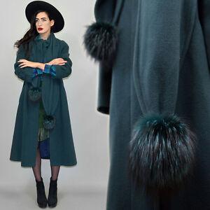 Vintage-Cashmere-Wool-Silver-Fox-Fur-Scarf-Cowl-Box-Coat-Blanket-Draped-Habit-L