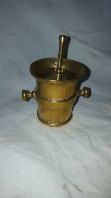 ANTIQUE VINTAGE BRASS SPICE HERB GRINDER POT INDIAN ASIAN DECORATIVE SOLID BRASS