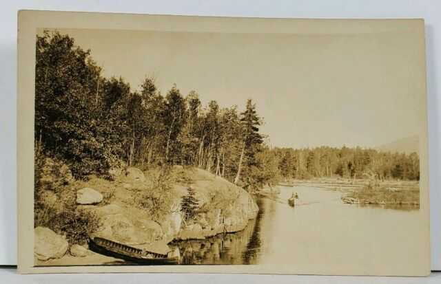 RPPC Small Boat in Water Canoe aground c1910 Real Photo Postcard F19