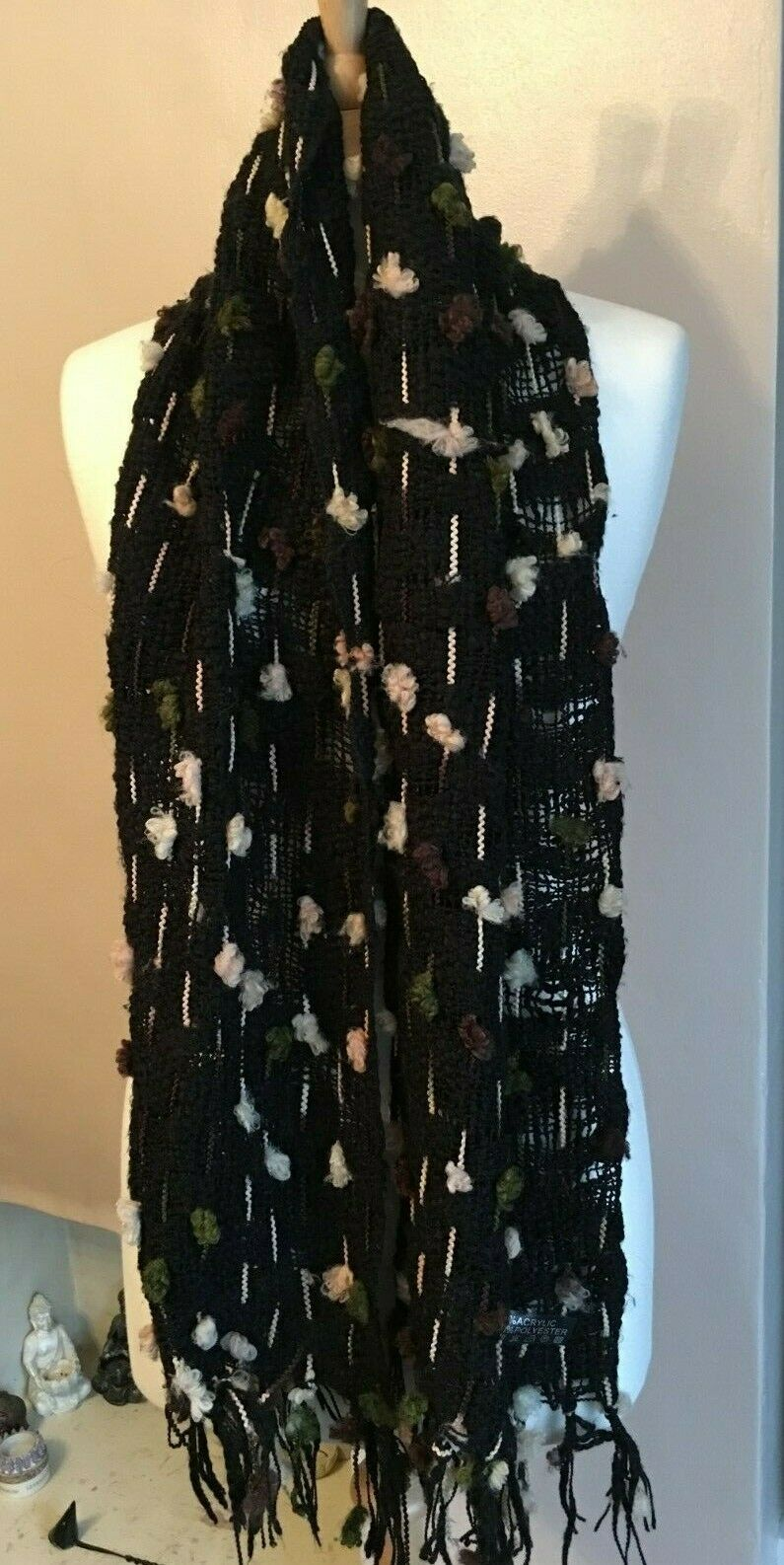 Girls/Women's Long Black knit with multi coloured pastle bauble design
