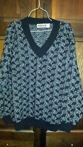 Jordache-Mens-Pullover-Sweater-Vintage-1980s-Retro-Black-amp-White-Acrylic-Medium