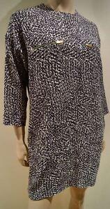CELINE-Grey-Black-White-Textured-Silk-Stretch-Fabric-3-4-Sleeve-Mini-Dress-FR36